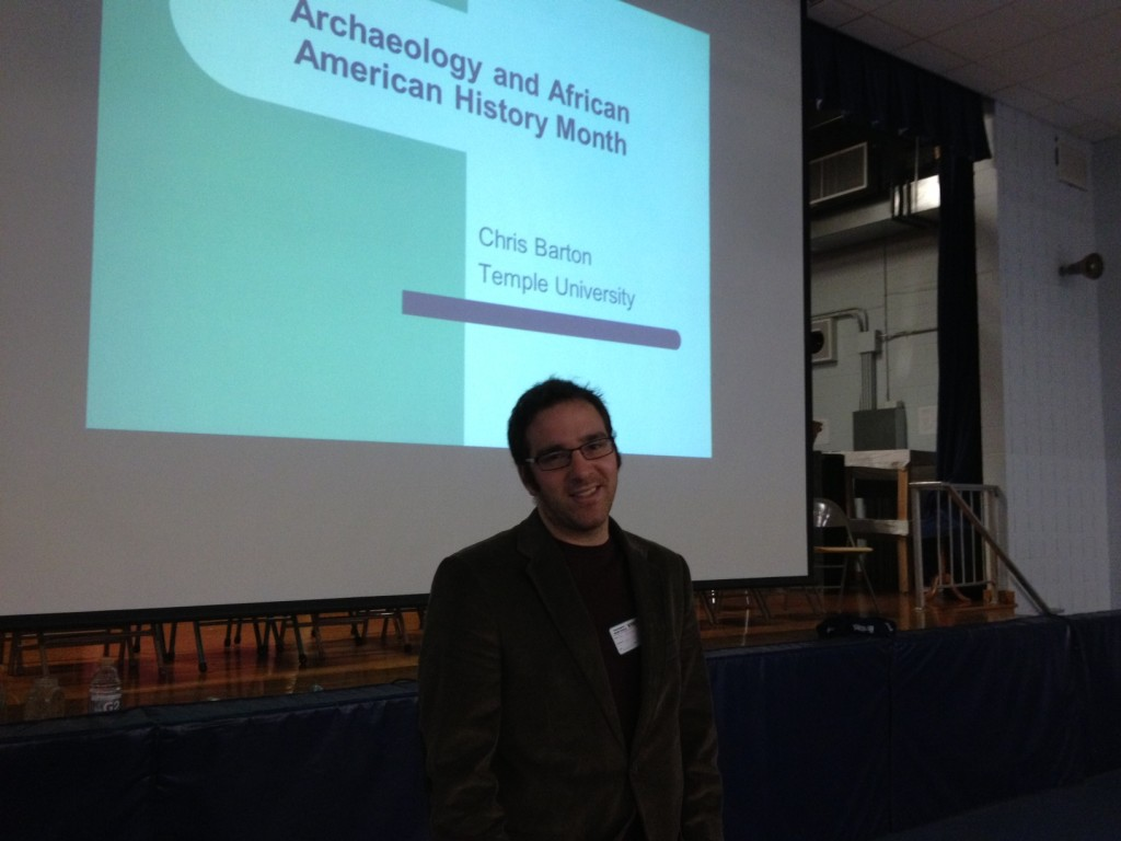 Winterthur Research Fellow Chris Barton talks about his archaeological research to more than 200 middle-schoolers at Westampton (NJ) Middle School on February 26, 2013.