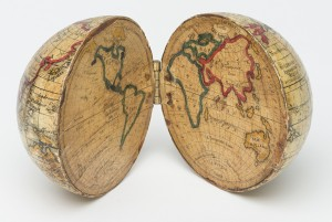 Pocket globe, Holbrook Apparatus Manufacturing Co., Wethersfield, Connecticut; 1830–59, Line etching with watercolor on paper and wood. Bequest of Henry Francis du Pont 1967.522