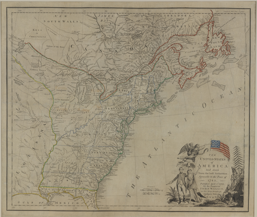 The United States of America Laid Down From the Best Authorities, Agreeable to the Peace of 1783, Published by John Wallis, London, England; 1783, Etching with burin work and watercolor on laid paper. Bequest of Henry Francis du Pont 1968.517a,b