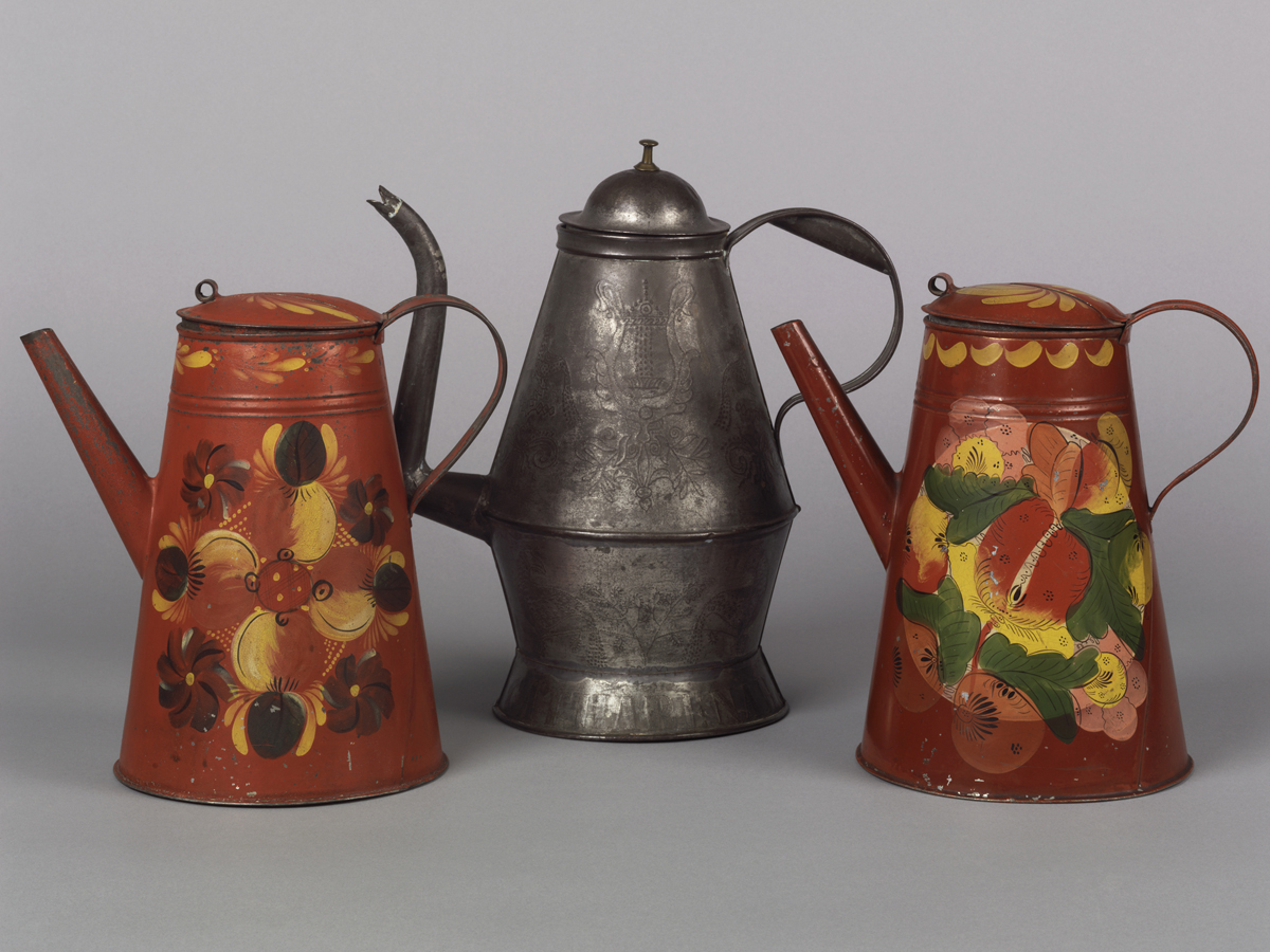 Coffeepots, all bequest of Henry Francis du Pont, 1959.2068;1959.2072; 1965.1673.