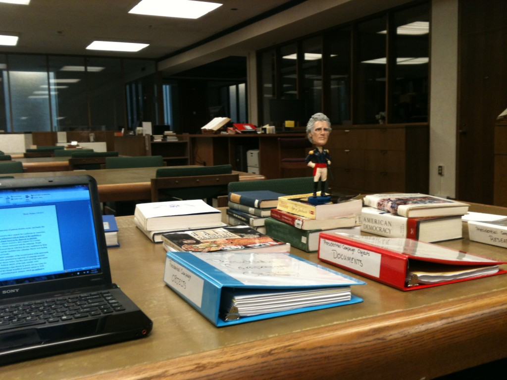 My Andrew Jackson library table