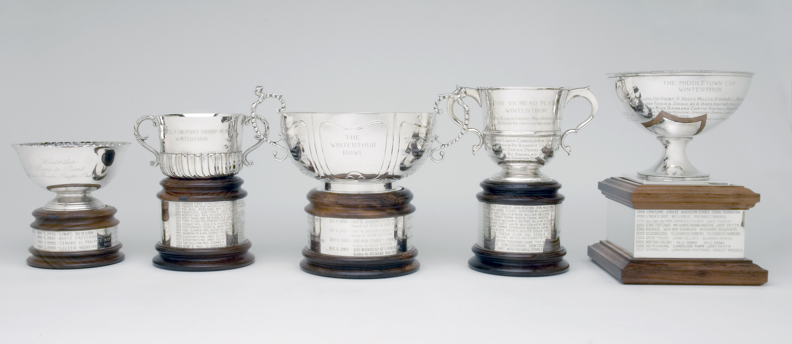 Trophies awarded to race winners at Point-to-Point