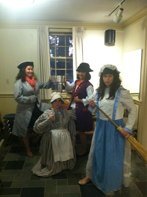Dressing up in New England: Caryne Eskridge, Lydia Blackmore, Dalila Huerta, Nina Ranalli.