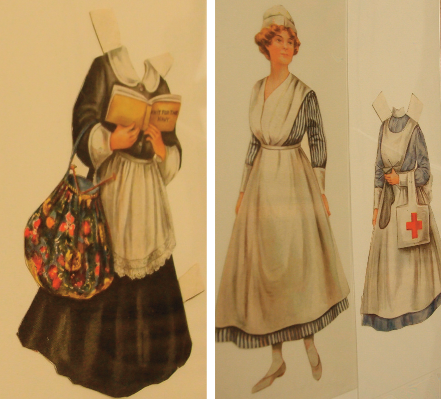Left: Paper doll holding Knit for the Navy. From Ladies Home Journal. The Printed Book and Periodical Collection, Winterthur Library. Right: Paper doll holding Knit for the Navy. From Ladies Home Journal. The Printed Book and Periodical Collection, Winterthur Library.
