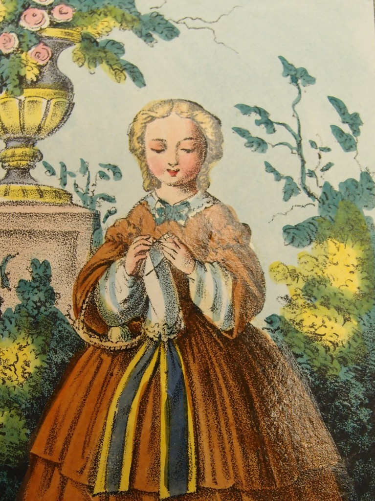 """""""Knitter in the Garden"""" card. The Joseph Downs Collection of Manuscripts and Printed Ephemera, Winterthur Library."""