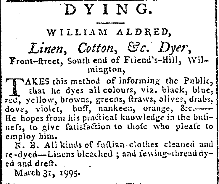 Advertisement. Delaware and Eastern-Shore Advertiser, August 1, 1795, Wilmington, Delaware.