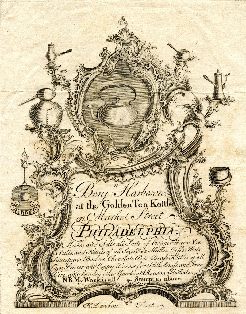 Benjamin Harbeson trade label, engraved by Henry Dawkins, ca. 1770.