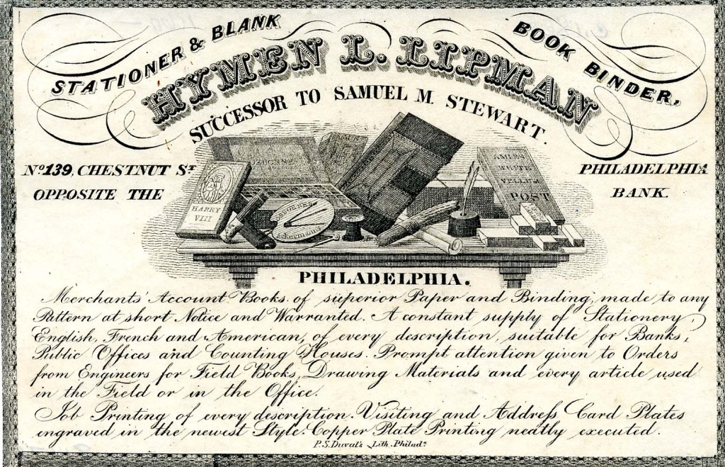 Hymen Lipman trade card, early 1840s.