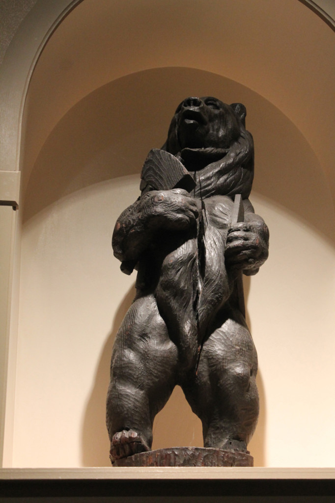 One of the bear figures that once stood at the entrance to the furniture shop, Rose Valley, Pennsylvania.