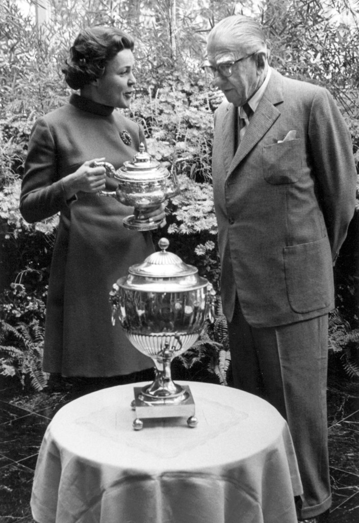 Arminda du Pont, first chairperson of the Delaware Antiques Show, and H. F. du Pont, 1968
