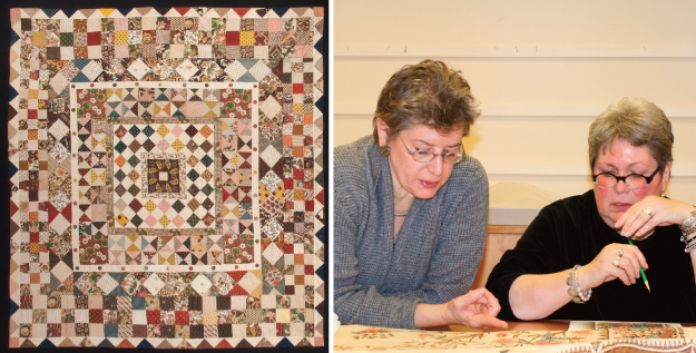 Left: The original Joanna Southcott quilt; Right: Linda Eaton and Kathy Hall, designer from Andover, review a design