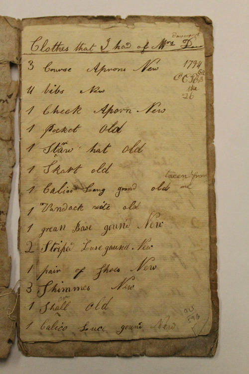 Fig. 4. Sally Bronsdon Clothing List. Joseph Downs Collection. Winterthur Museum. Doc. 1136.
