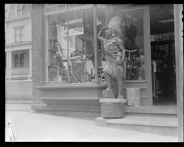 Main Street Indian Chief, Hoosick, New York. Courtesy of the Boston Public Library, Leslie Jones Collection.