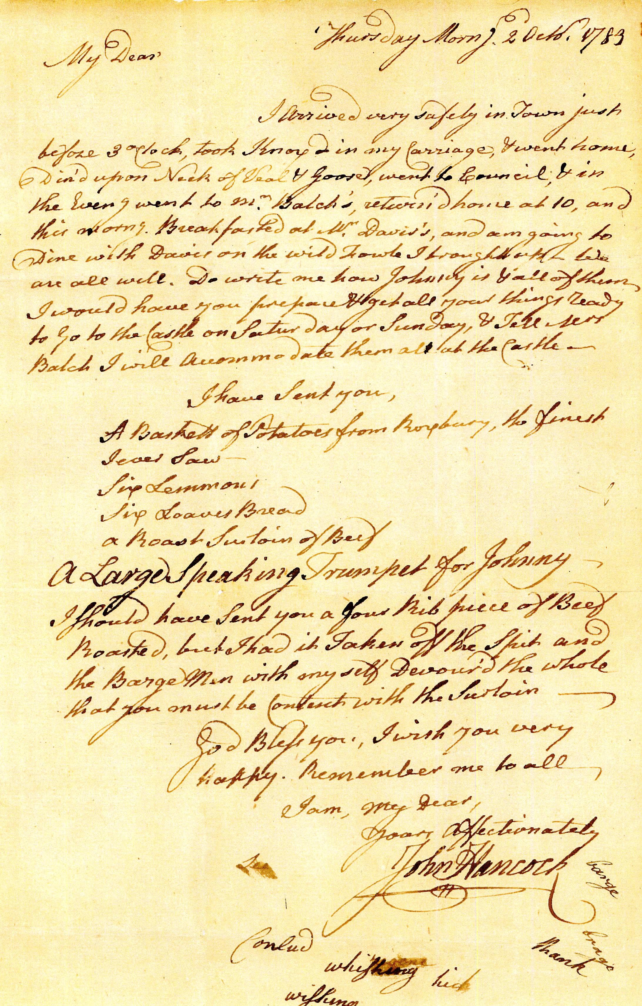 Hancock letter