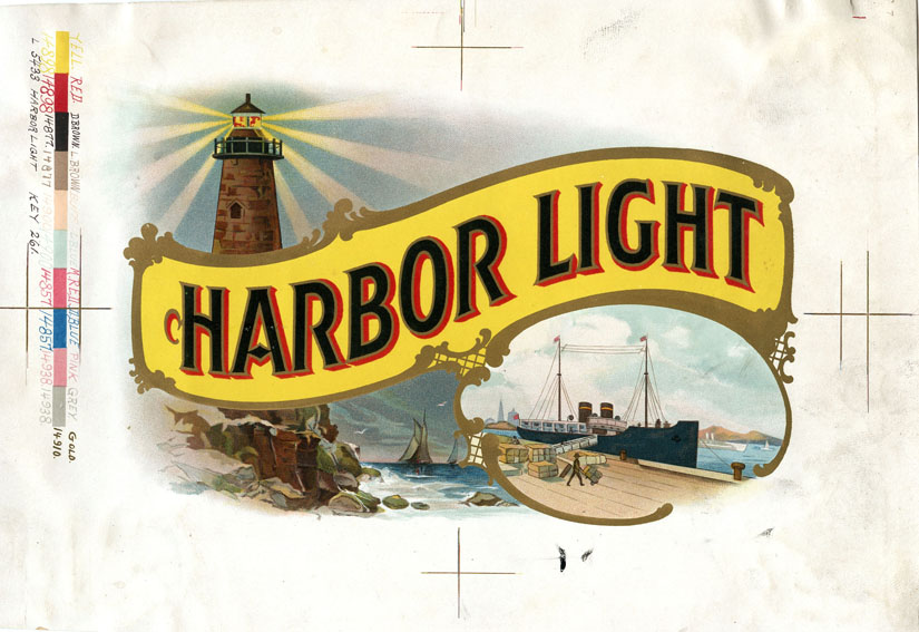 "Proof for the ""Harbor Light"" cigar label with color bar on left documenting use of 11 colors."