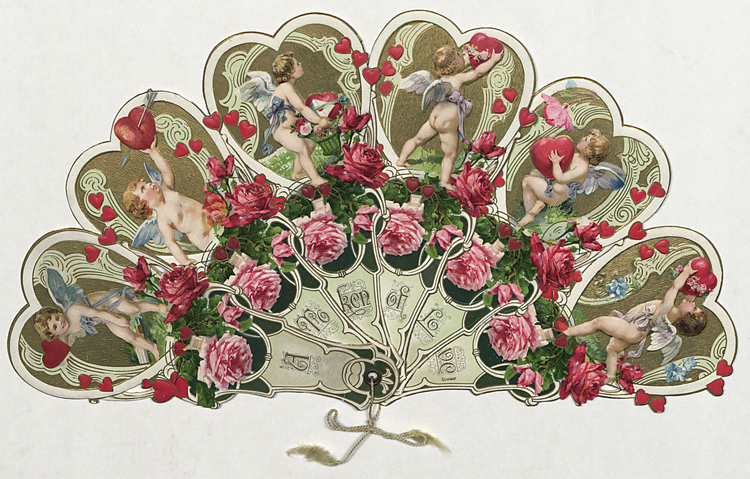 """A Token of Love"" valentine card in the shape of a fan. John and Carolyn Grossman Collection, Winterthur Library."