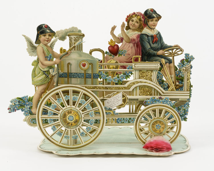 Cupid operates the steam pump in this fold-out mechanical valentine. John and Carolyn Grossman Collection, Winterthur Library.