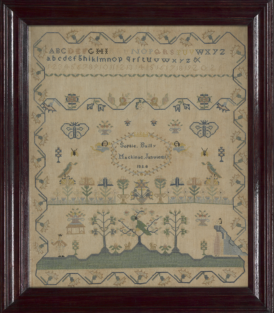 Sampler by Sophie Bailly, 1828, Michigan. Museum purchase with fund provided by Henry Francis du Pont Collectors Circle, 2010.30a