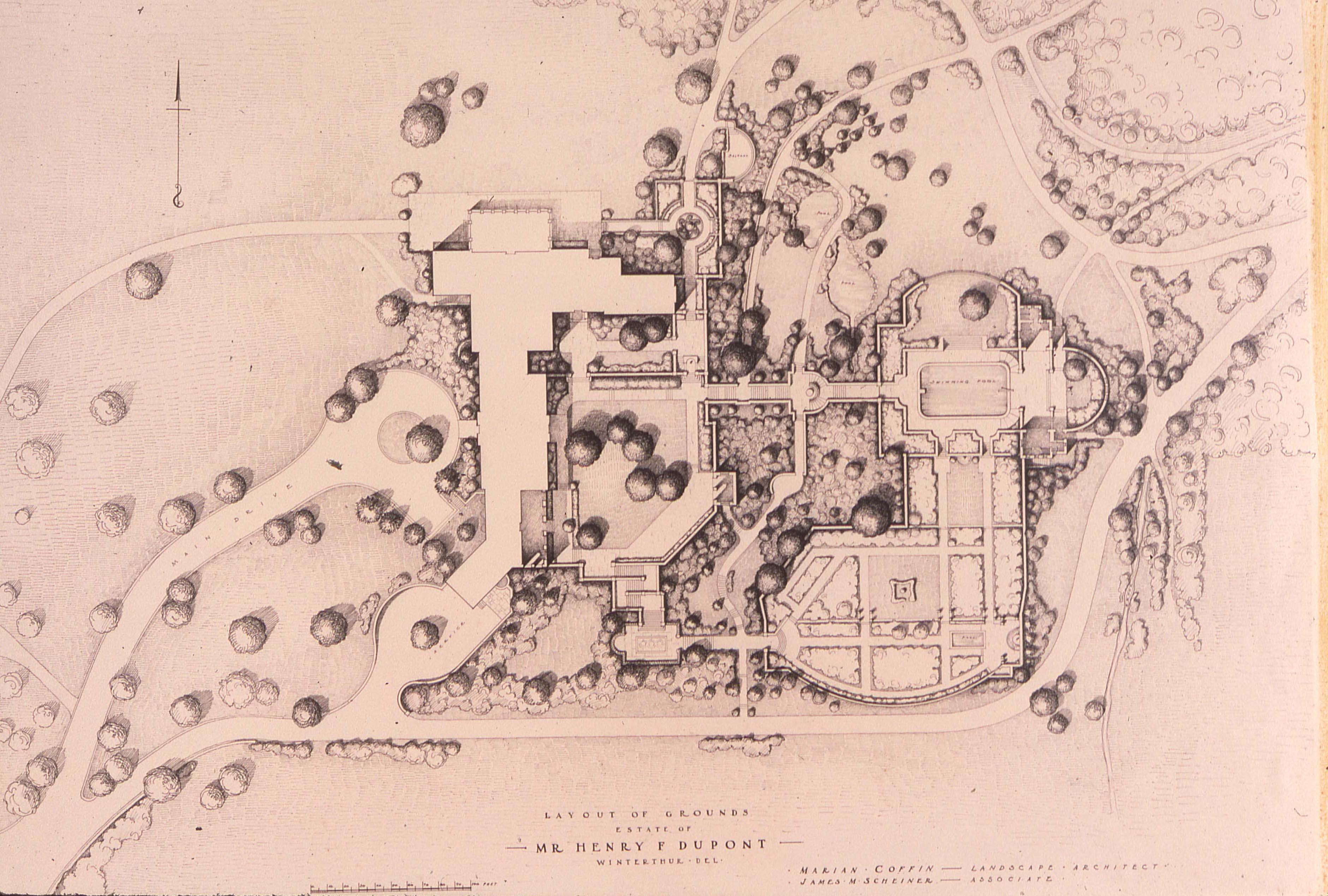 Layout of the Grounds, Marian Coffin. Winterthur Archives