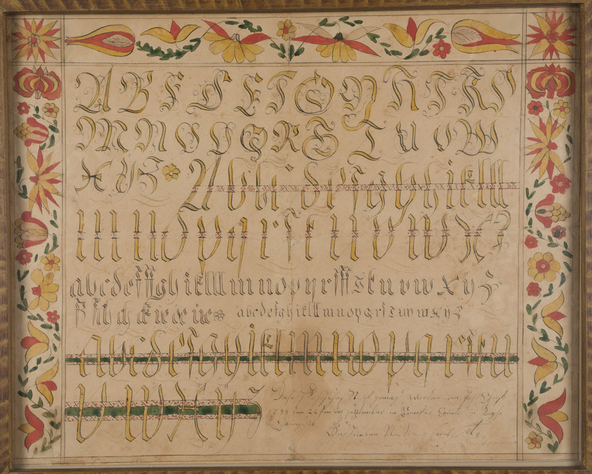 Fraktur (Writing sample), Lancaster, Pennsylvania, 1795. Museum purchase with funds provided by the Henry Francis du Pont Collectors Circle, 2013.31.069 A