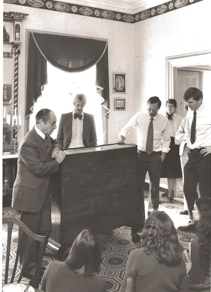 Brock Jobe (far right) with (from the left) Albert Sack, Gib Vincent, Richard Nylander, and Jayne Stokes, in the parlor of the Harrison Gray Otis House in Boston, mid-1980s