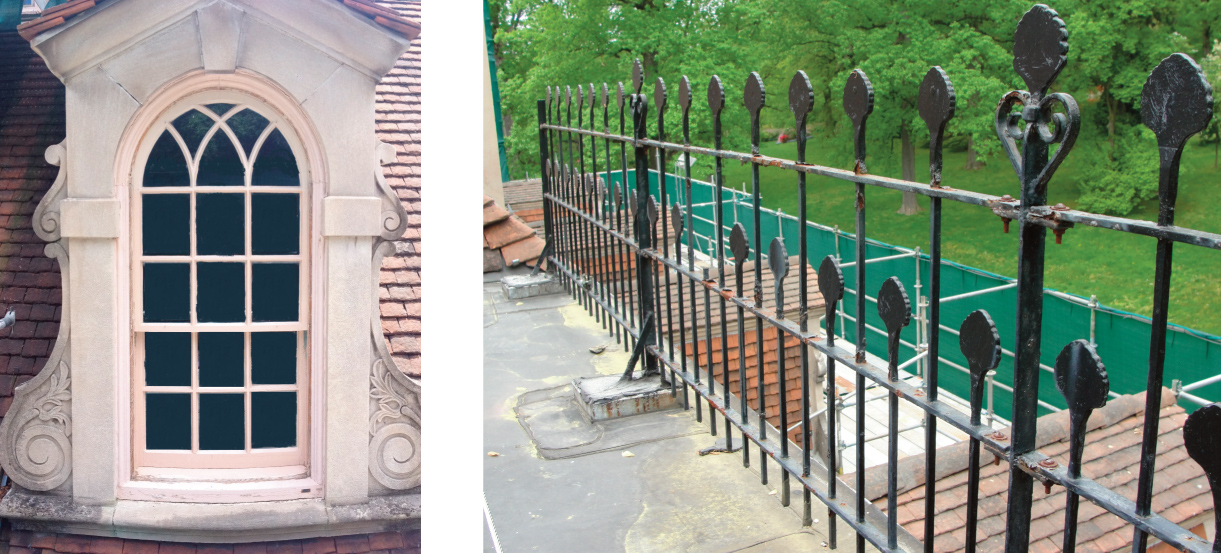 Left: Dormer Brackets modeled from Port Royal House; Right: Ironwork fence from Port Royal House