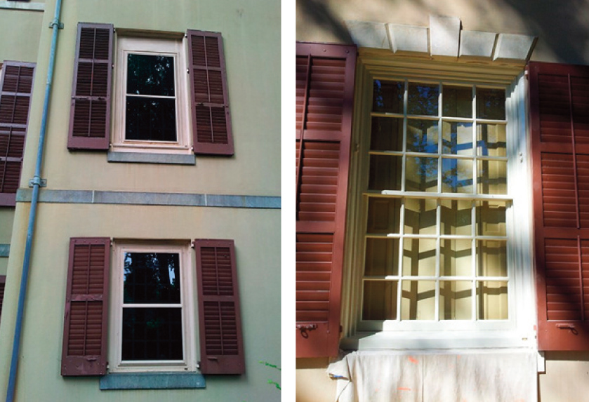 Left: Former view of windows; Right: New view of windows with visible muntins