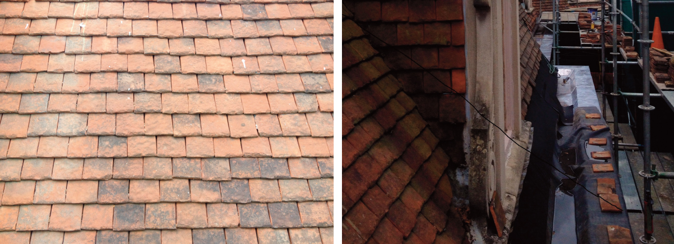 Left: Ludovici Roof Tiles; Right: New Gutters