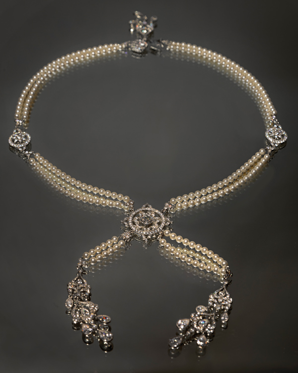 Double-drop necklace of Swarovski crystals and pearls worn in Season Four of the Downton Abbey series