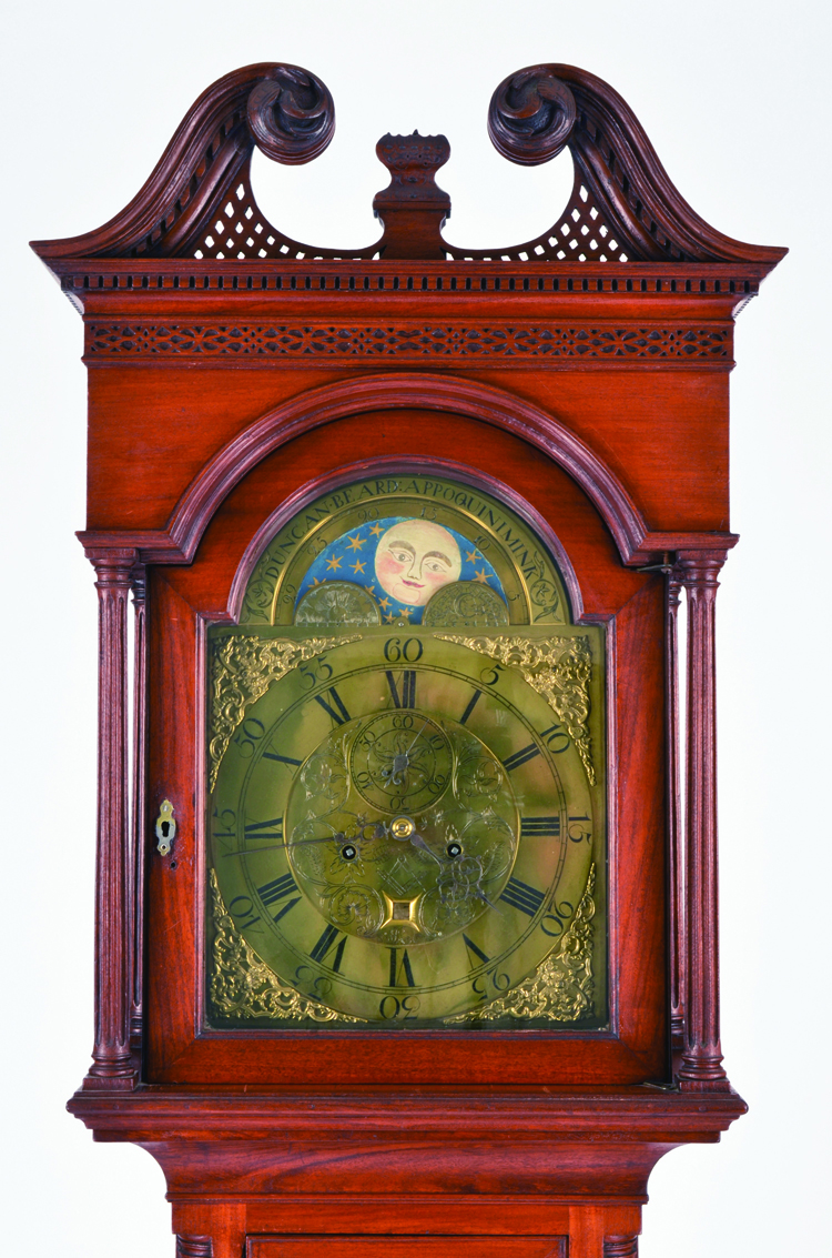 John Janvier Sr. and Duncan Beard, tall clock, mahogany and brass, 1775–90. Historic Odessa Foundation
