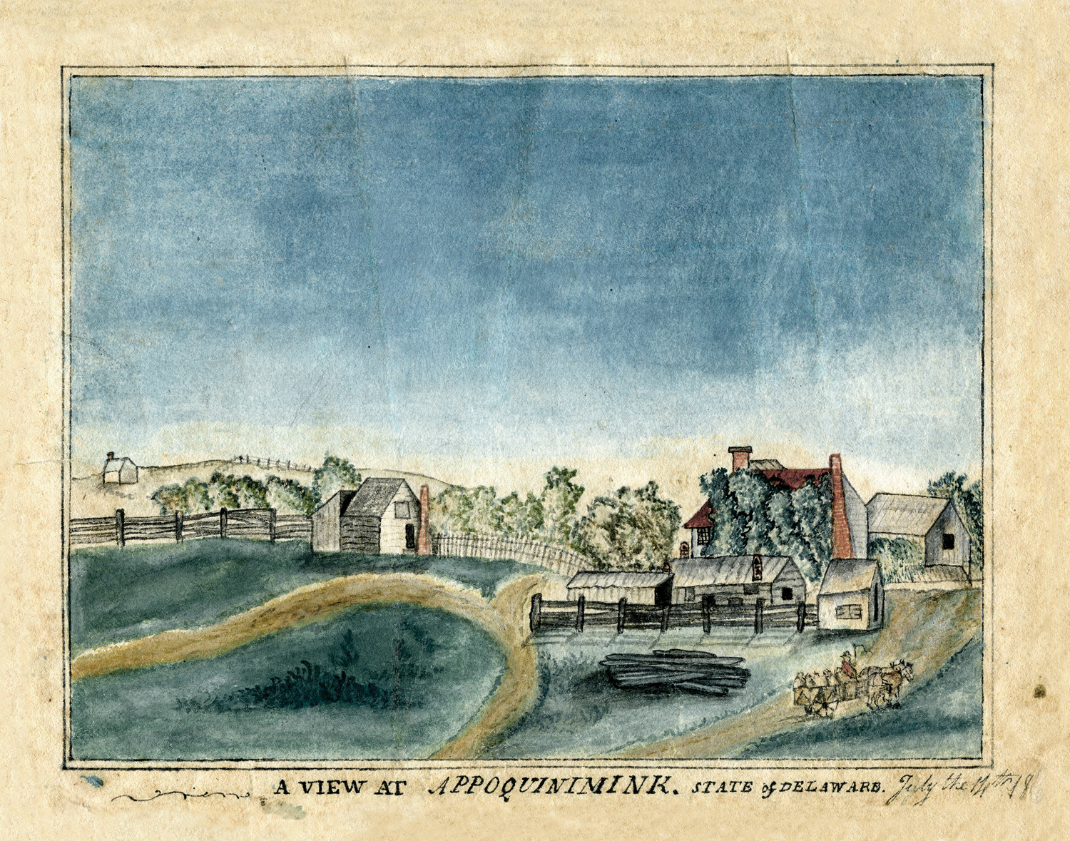 G. W. Janvier, A View at Appoquinimink, State of Delaware, watercolor on paper, 1805–20. Historic Odessa Foundation