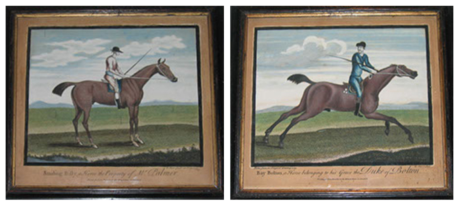 Set of race horse portraits (2 of 6). John Bowles, printer (1701-1779) Remigius Parr, engraver (c. 1723-1747) London, dated 1739.