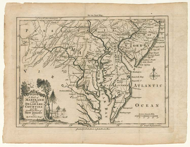 Thomas Kitchin, A MAP OF/ MARYLAND/ with the/ DELAWARE/ COUNTIES/ and the Southern Part of/ NEW JERSEY/ &c, 1757. Winterthur Museum purchase 1982.309