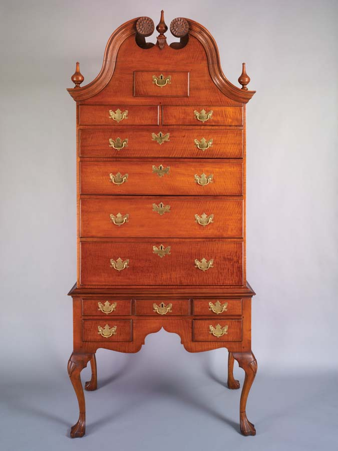 Seth Pancoast, high chest of drawers, figured maple, 1766. Winterthur Museum, promised gift of John J. Snyder, Jr. L2010.1042.1