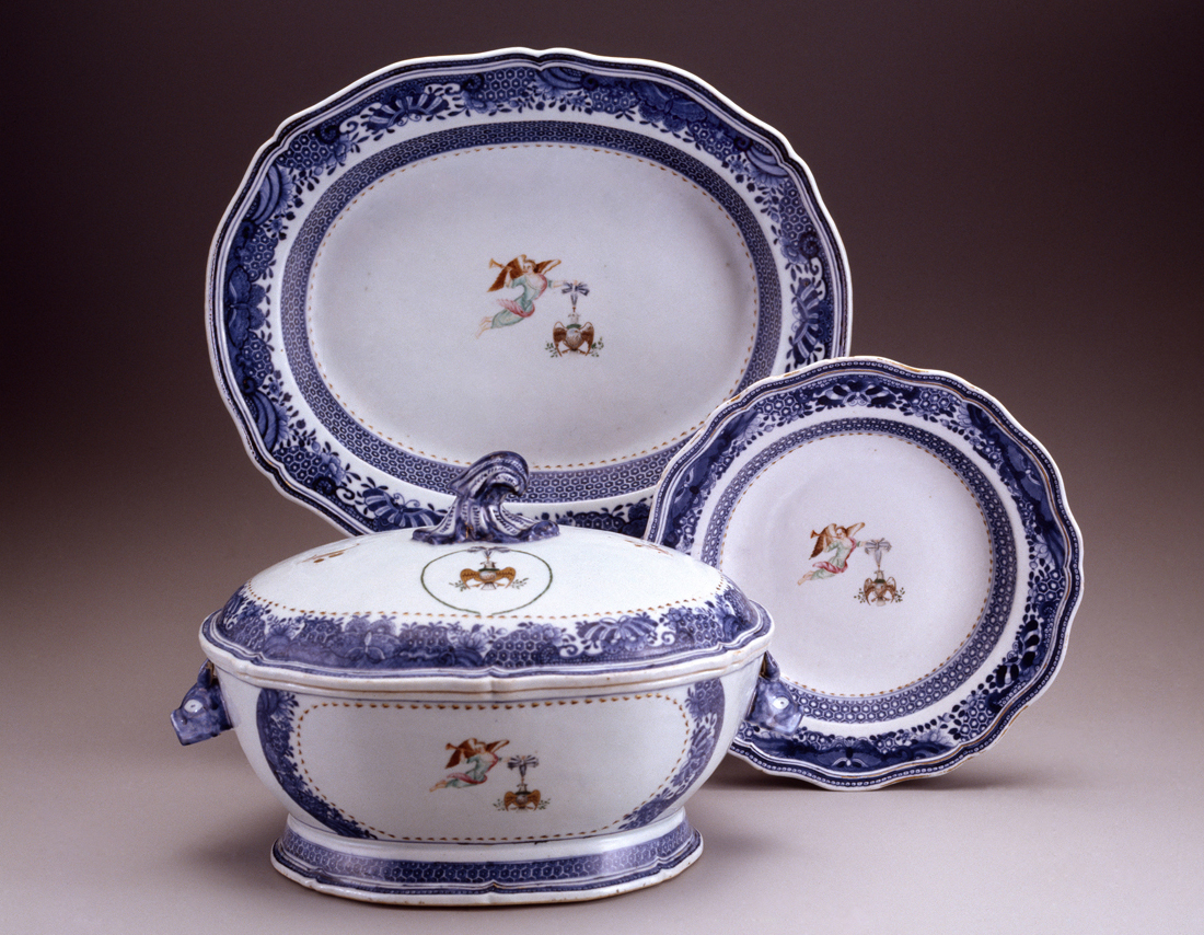 Dinnerware with emblem of the Society of the Cincinnati. Jingdezhen, China; about 1784. Hard paste porcelain. 1963.700.28 and .57 A-C