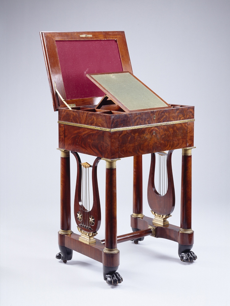 Charles-Honoré Lannuier (1779–1819), work table, mahogany; mahogany, maple, rosewood veneer; white pine, tulip-poplar, gilded brass, die-stamped brass borders. New York, New York, probably 1817. Museum purchase with funds provided by Henry Francis du Pont. 1960.0006.