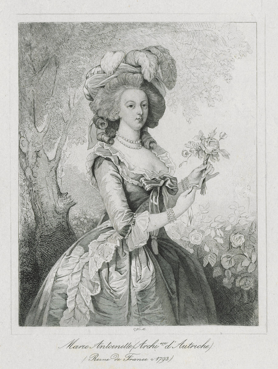 Engraving of Marie Antoinette dressed in informal attire in the mid-1780s. Reminiscent of Vigée Le Brun's 1783 painting. 1967.2376.