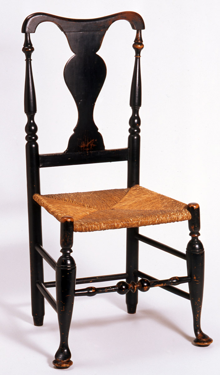David Coutant/Coutong (1748–1829,) side chair, maple, ash, rush. New York, New York or New Rochelle, 1700–1800. Gift of the Wunsch Americana Foundation, Inc., 1952.0049