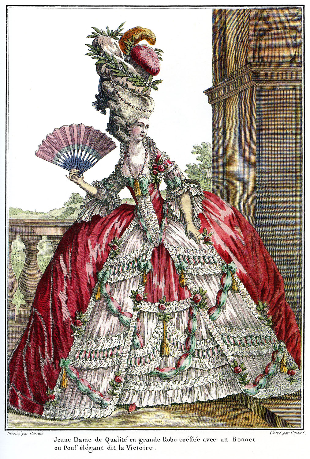 1778 fashion plate from Galerie des Modes depicting a grander style of dress and a tall pouf with laurel leaves symbolizing a victory.