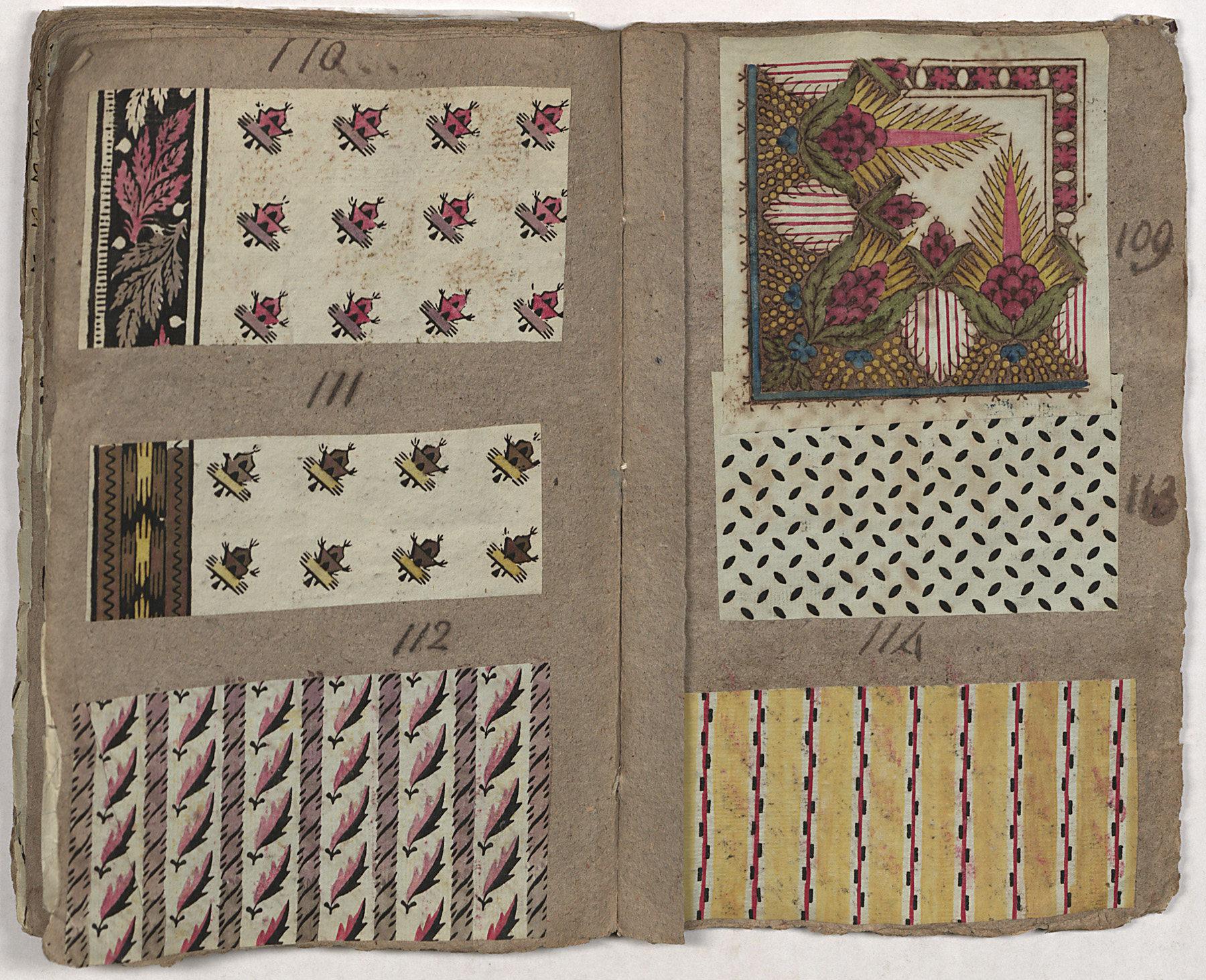 Pages from Archibald Hamilton Rowan's scrapbook showing the small repeats and stripes used in 1790s dress fabrics. Col. 50, 66x141, Joseph Downs Collection, Winterthur Library