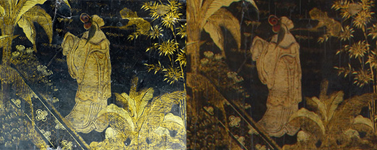 Left: detail of the table decoration coated in a later layer of shellac, before cleaning. Right: same detail with the cleaned and preserved shellac layer.