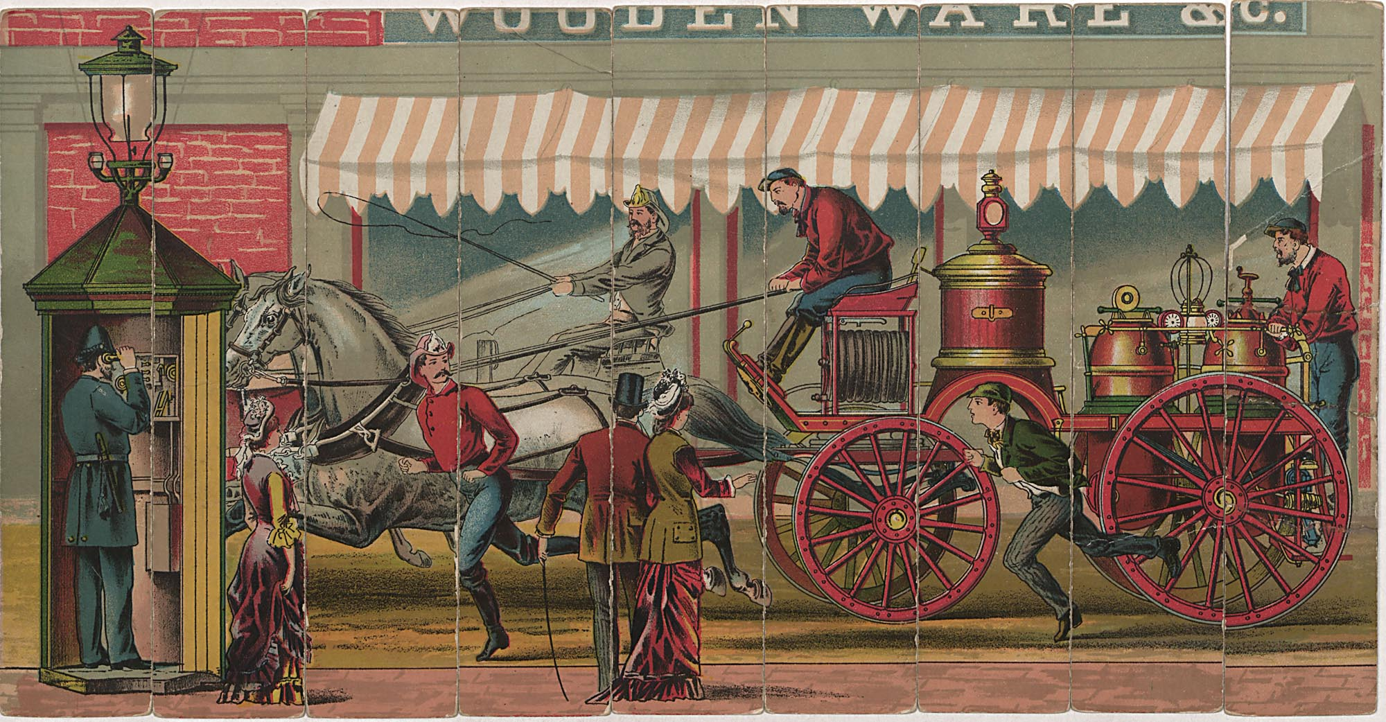 Picture of chemical engine from American fire department toy, Doc. 55, Joseph Downs Collection, Winterthur Library