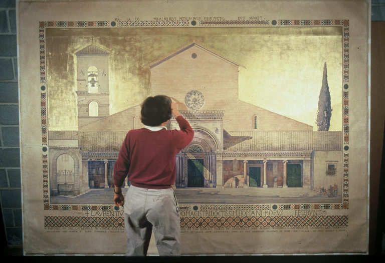 During treatment of large architectural drawing Portico of Civita Castellana by Harry Sternfeld