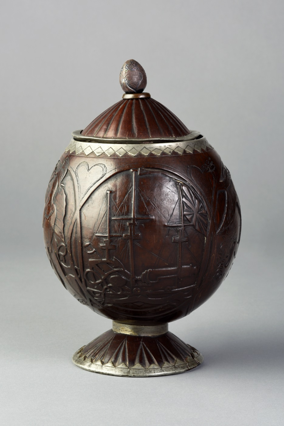 Covered cup, coconut, pewter. Bequest of Henry Francis du Pont 1965.1836