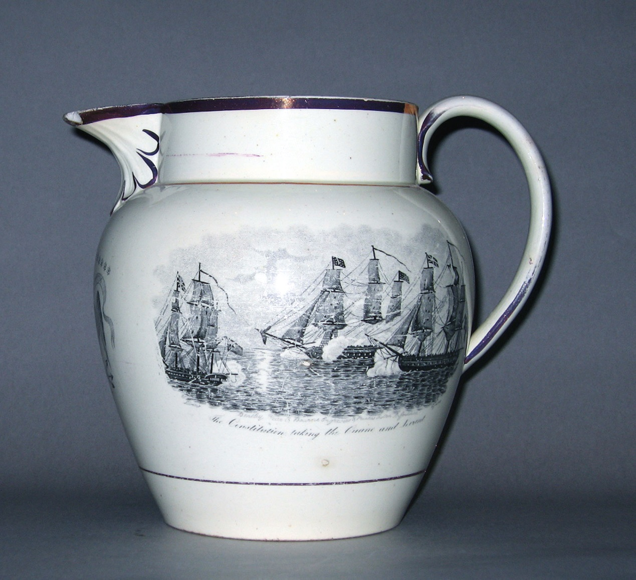 "The print used for this depiction of ""The Constitution taking the Cyane and Levant"" is signed ""Bentley Wear & Boune Engravers & Printers Shelton Staffordshire."" Jug, England, 1816–30. Earthenware (tin-glazed) or lead-glazed earthenware Bequest of Mr. B. Thatcher Feustman 1968.84."