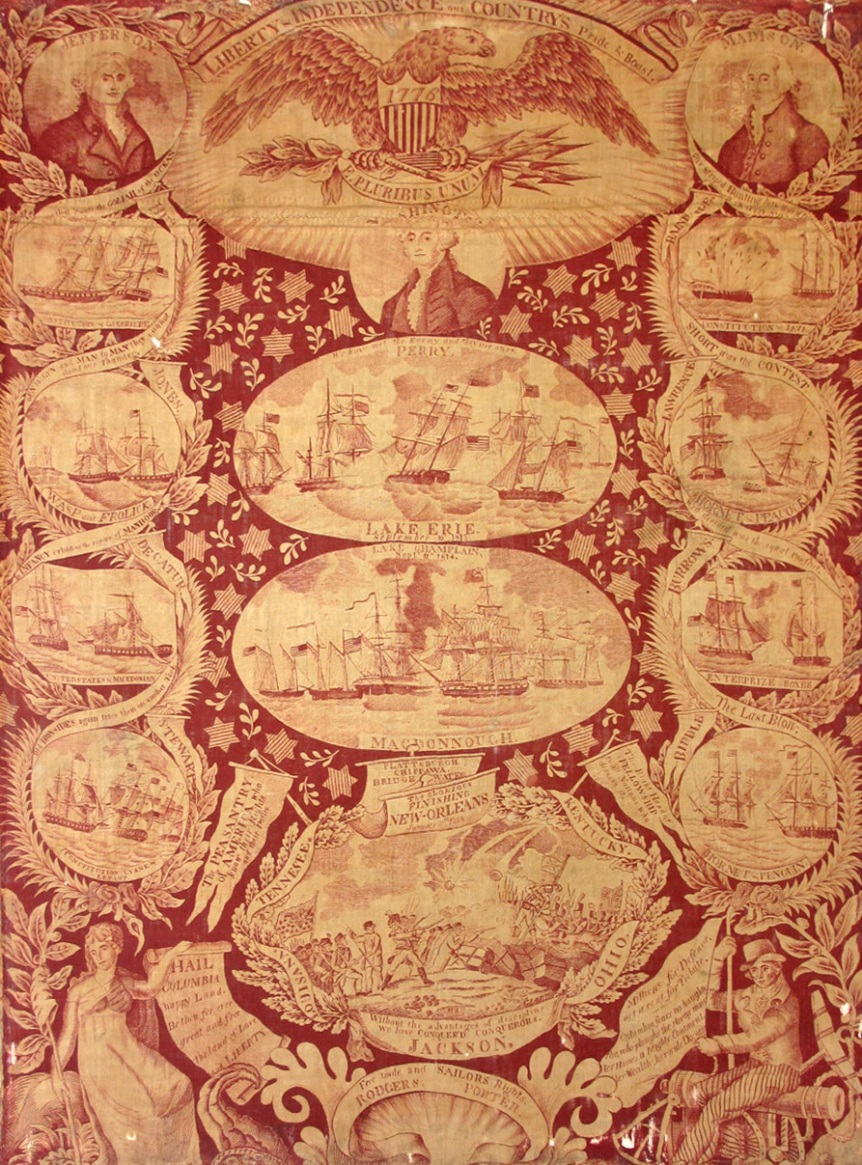 Handkerchief, possibly engraved by CS Smith, England or Scotland, 1810–2.0 Cotton. A Gift of Mrs. Alfred C. Harrison1969.436 Among the battles from the War of 1812 that are portrayed on this handkerchief is the Constitution capturing the Cyane and Levant (shown in the last small circle on the left side). Thomas Birch's paintings are believed to be the source for several of the naval scenes here.