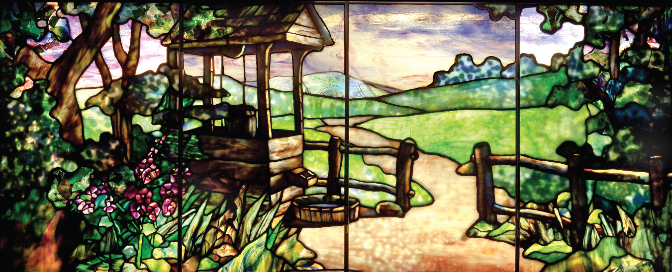 Well by Fence window, Tiffany Studios (design attributed to Agnes Northrop), ca. 1910. Leaded glass, 21½ x 53½ in. The Neustadt Collection of Tiffany Glass, Queens, N.Y.