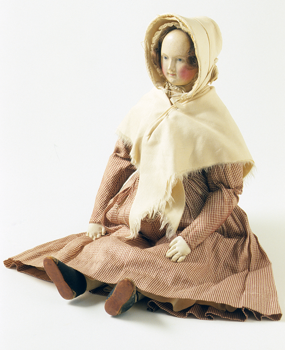 Doll Possibly Philadelphia, Pennsylvania, between 1832-1845 Cotton; Silk; Hair; Leather; Composite Gift of Ruth Young Buggy in memory of Caroline Bacon Willoughby Young1991.0023