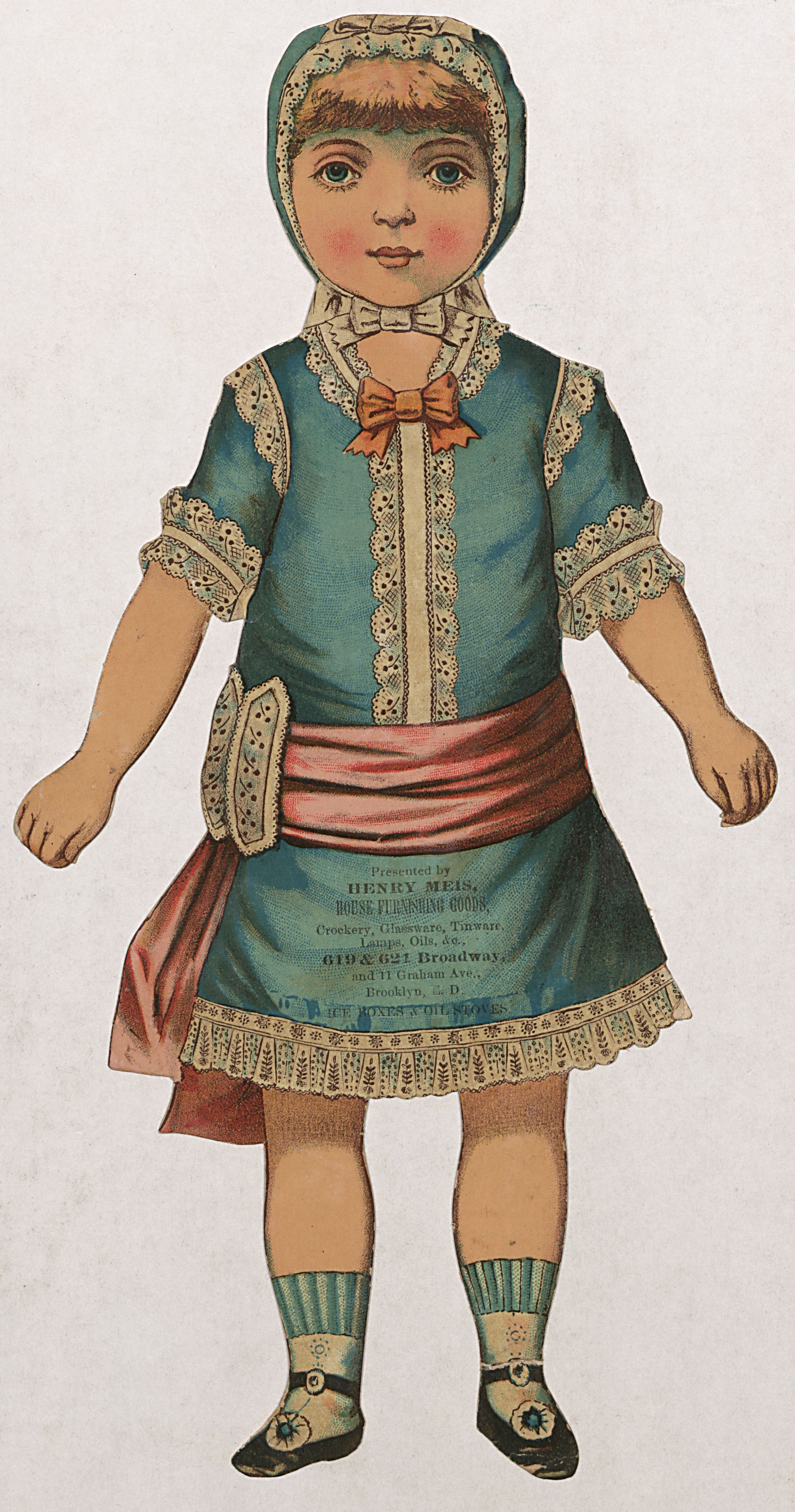 In the 1890s, Henry Meis of Brooklyn advertised his house furnishings store with a paper doll in a bid for future customers. Col. 121, 73x319.56 Maxine Waldron Collection of Children's Books and Paper Toys, Winterthur Library