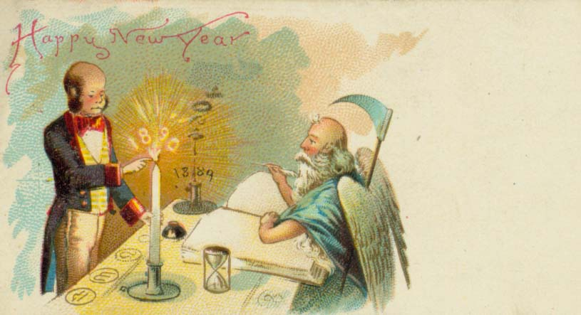 Father Time says goodbye to 1898 in this unused calling card. John and Carolyn Grossman Collection, Winterthur Library